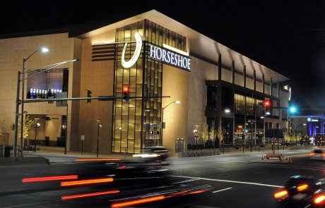 Need nighttime shot of the new Horseshoe Casino, all lit up, for cover of MARYLAND LIVE. Best vantake point may be across Russell St